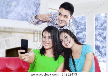 Attractive Asian People Take Self Portrait