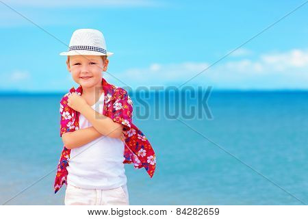 Portrait Of Cute Boy Kid On Summer Vacation