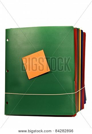 Bundle Of File Folders With Sticky Note