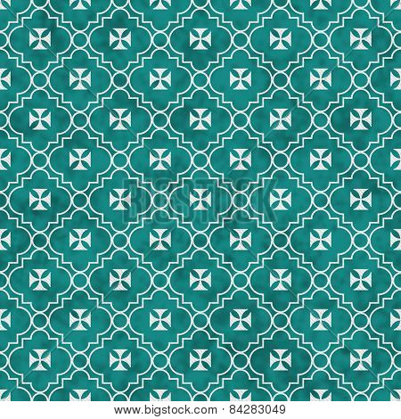 Teal And White Maltese Cross Symbol Tile Pattern Repeat Background