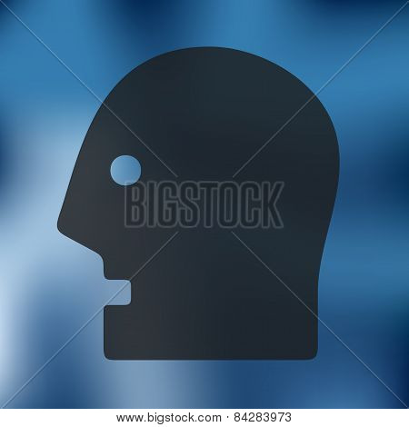 head icon on blurred background