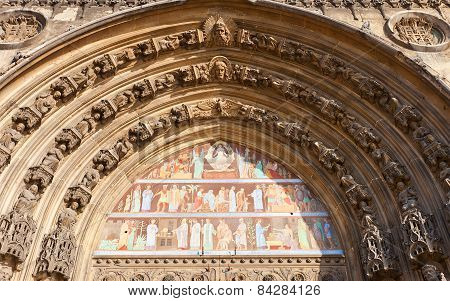 Tympanum Of Saint-laurent Church (xv C.) In Paris