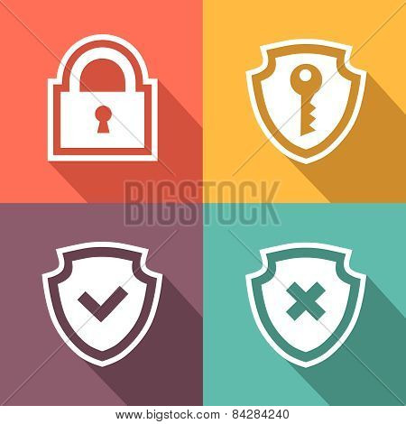 Flat security icons. Vector illustration