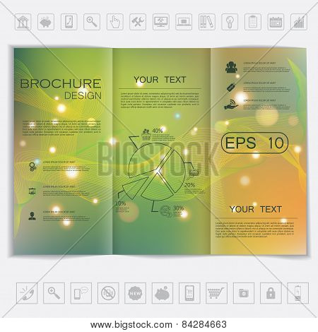 Tri-fold Brochure Mock Up Vector Design. Smooth Unfocused Bokeh Background With Waves And Shiny Elem