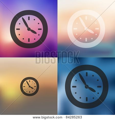 clock icon on blurred background