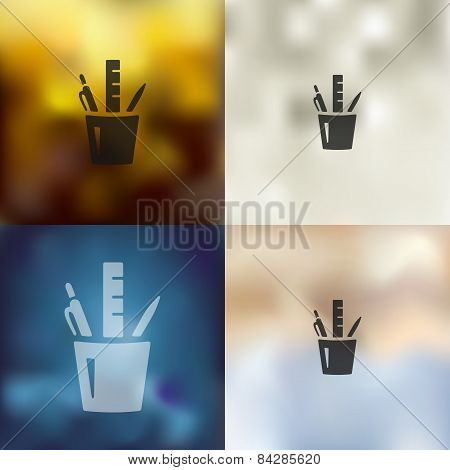 stationery tools icon on blurred background