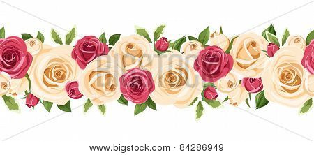 Horizontal seamless background with red and white roses. Vector illustration.
