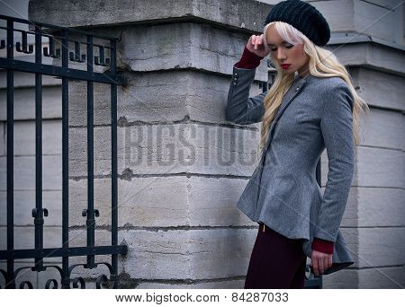 Blonde Girl With Red Lips Outdoors