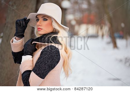 Portrait Of Beautiful Blonde Woman With Makeup