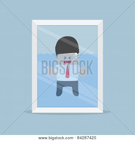 Businessman Drowning In The Water Tank, Emergency Situation, Risk Concept
