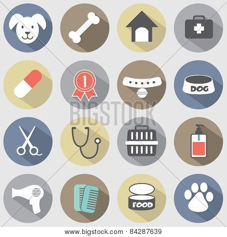 Modern Flat Design Dog Icons Set.