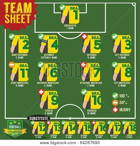 Soccer Of Football Team Sheets.
