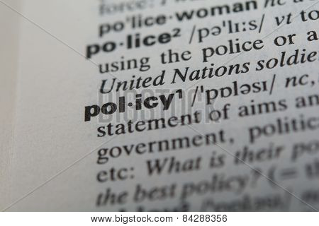 Definition of the word policy