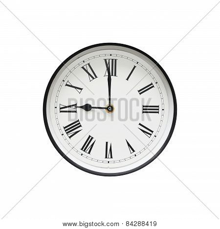 Classic Black And White Round Clock Isolated On A White Background