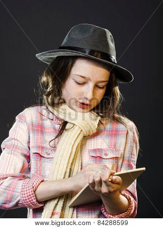 Cute Teenage Girl Drawing Draft Sketch Portrait