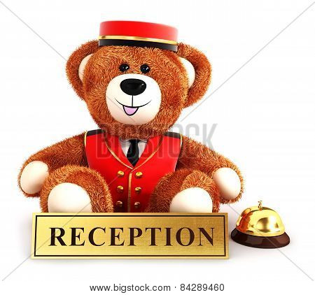 3d teddy bear bellboy