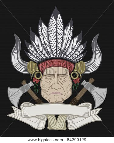The Indian chief with a tomahawk.