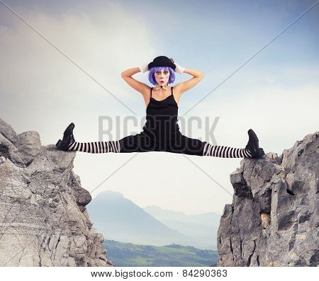 Clown between two mountains