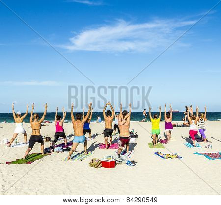 People Enjoy The Fitness Course At South Beach