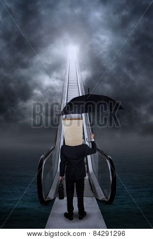 Man With A Bridge To Success Door