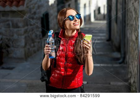 Young traveler in the city