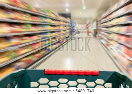 Shopping Concept At Supermarket In Motion Blur
