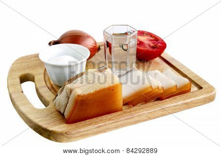 Glass Of Vodka And Snack