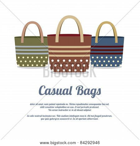 Set Of Casual Handbags.