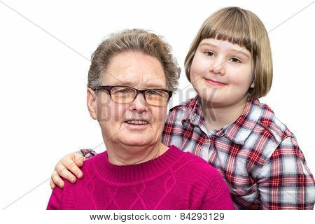 Grandmother and grandchild together on white background
