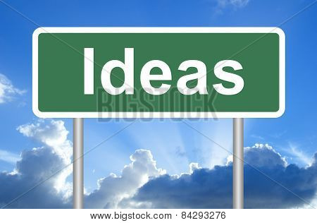 Ideas road sign on blue sky