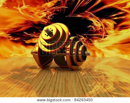Dumbbells on an abstract background