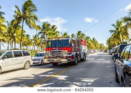 Fire Brigade On Duty In South Beach In Miami