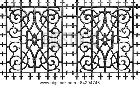 Ornate metal iron fence