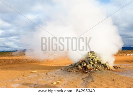 Steaming Fumarole In Hverir, Namafjall. Myvatn Lake Area, North Iceland.