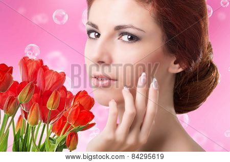 Beauty Woman With Beautiful Garden Fresh Red Tulips