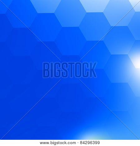 Simple blue geometric background. White light. Backdrop for brochure ad website internet banner.