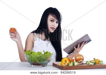 Woman Preparing Vegetables Salad