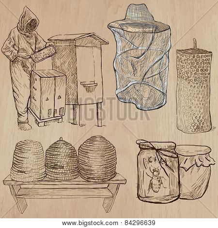 Bees, Beekeeping And Honey - Hand Drawn Vector Pack 4