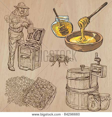 Bees, Beekeeping And Honey - Hand Drawn Vector Pack 5