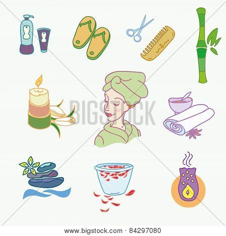 Spa doodle hand drawn sketch  icons set with  towels aroma candles  vector illustration