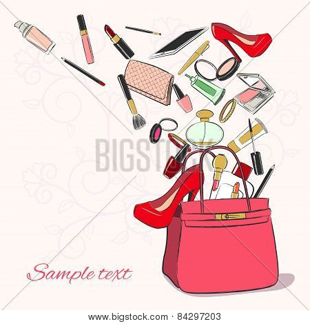 Woman Bag With Cosmetics