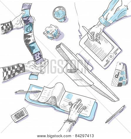 Teamwork, top view people hands sketch hand drawn doodle office workplace with business objects and