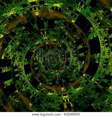 Beautiful strange digital spiral. Abstract fractal art. Green black background illustration.