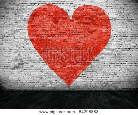 Heart Painted On Brick Wall