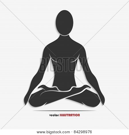Silhouette Of A Man In The Yoga Pose