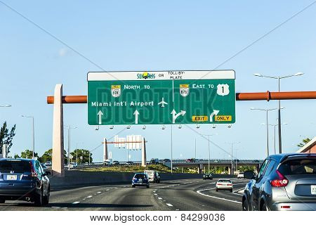 Driving The Miami Highway From The Airport Direction East