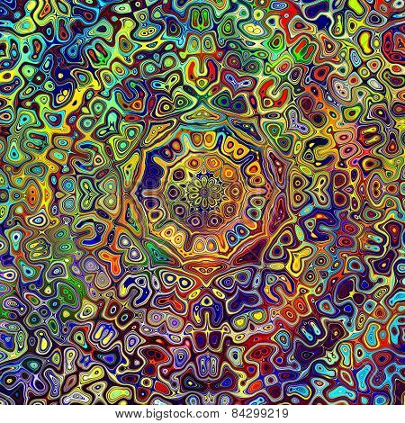 Colorful psychedelic mandala pattern. Unique creative abstract background. Red green blue colors.