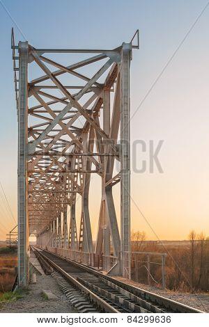Steel Railway Bridge Over Steer River. Ukraine.