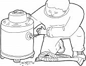 foto of clog  - Outline illustration of janitor with clogged wet - JPG