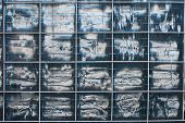 foto of fin  - Abstract detail of the exterior of an air conditioning unit showing damage to the fins - JPG